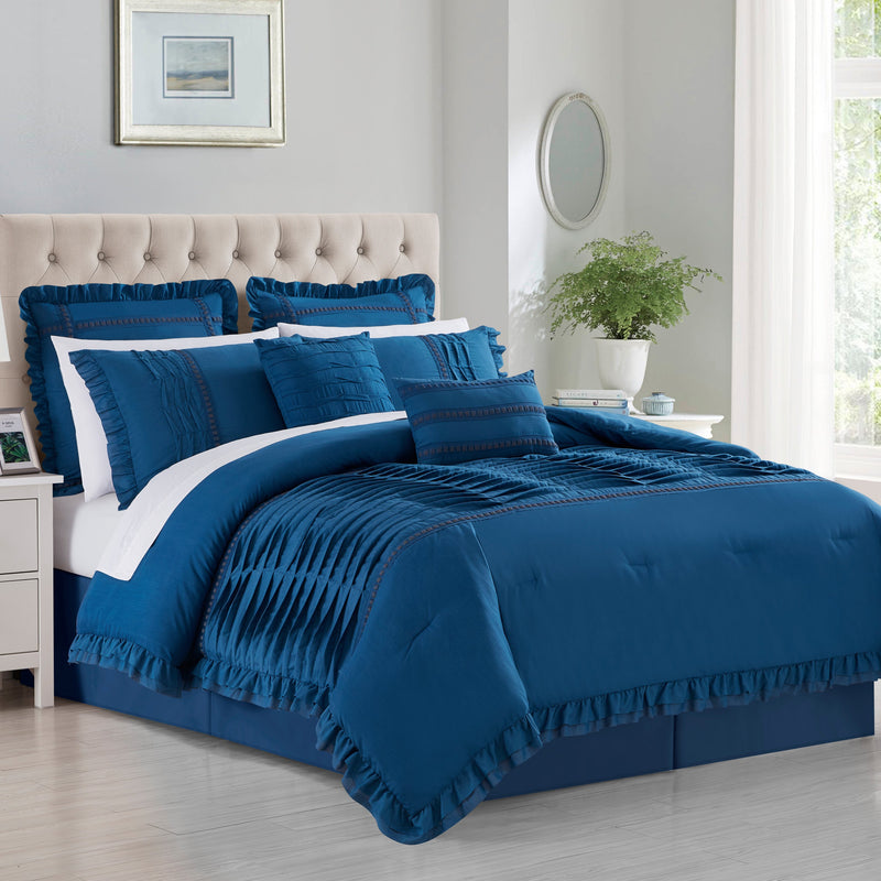 Chic Home Yvette 12 Piece Comforter Set Pleated Details Ruffled Flange Border Design Bed In A Bag-
