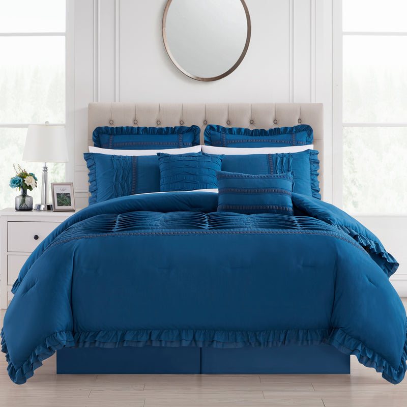 Chic Home Yvette 12 Piece Comforter Set Pleated Details Ruffled Flange Border Design Bed In A Bag-Blue