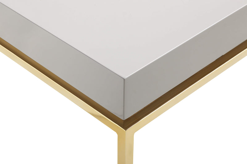 Iconic Home Alcee Center Coffee Table High Gloss Lacquer Top Gold Plated Solid Metal Legs-