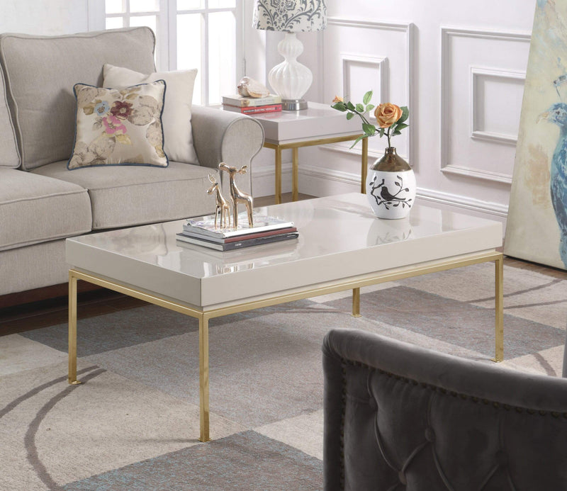 Iconic Home Alcee Center Coffee Table High Gloss Lacquer Top Gold Plated Solid Metal Legs-Beige-FST2959-CHB