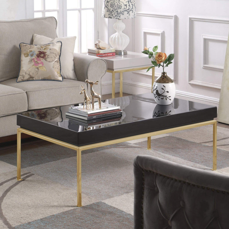 Iconic Home Alcee Center Coffee Table High Gloss Lacquer Top Gold Plated Solid Metal Legs-Black-FST2960-CHB