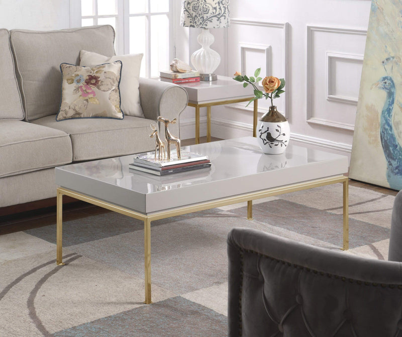 Iconic Home Alcee Center Coffee Table High Gloss Lacquer Top Gold Plated Solid Metal Legs-Grey-FST2961-CHB