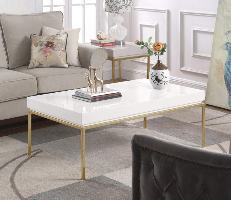 Iconic Home Alcee Center Coffee Table High Gloss Lacquer Top Gold Plated Solid Metal Legs-White-FST2958-CHB