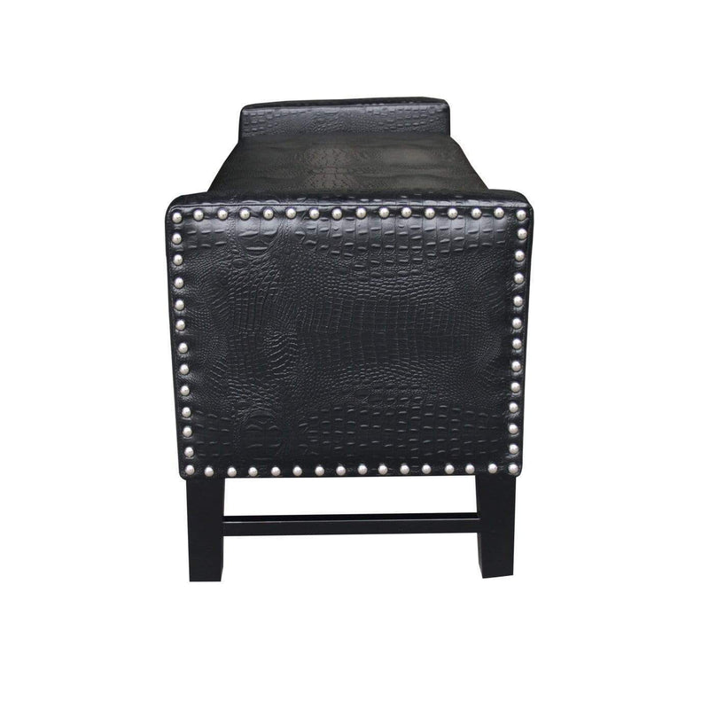 Iconic Home Archer Storage Bench Crocodile Stamped PU Leather Upholstered Espresso Legs Bench-