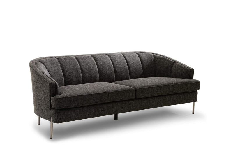 Iconic Home Astoria Sofa Linen-Textured Upholstery Vertical Channel-Quilted Metal Legs-