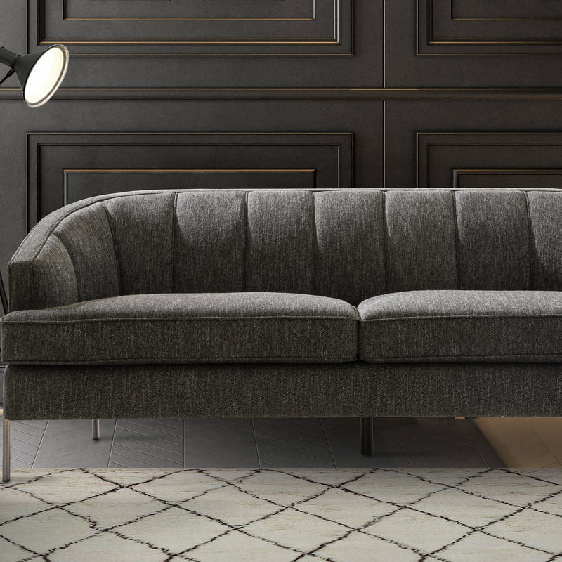 Iconic Home Astoria Sofa Linen-Textured Upholstery Vertical Channel-Quilted Metal Legs-Black-FSA9371-CHB