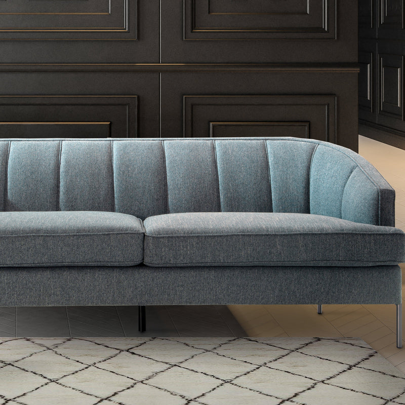 Iconic Home Astoria Sofa Linen-Textured Upholstery Vertical Channel-Quilted Metal Legs-Blue-FSA9372-CHB