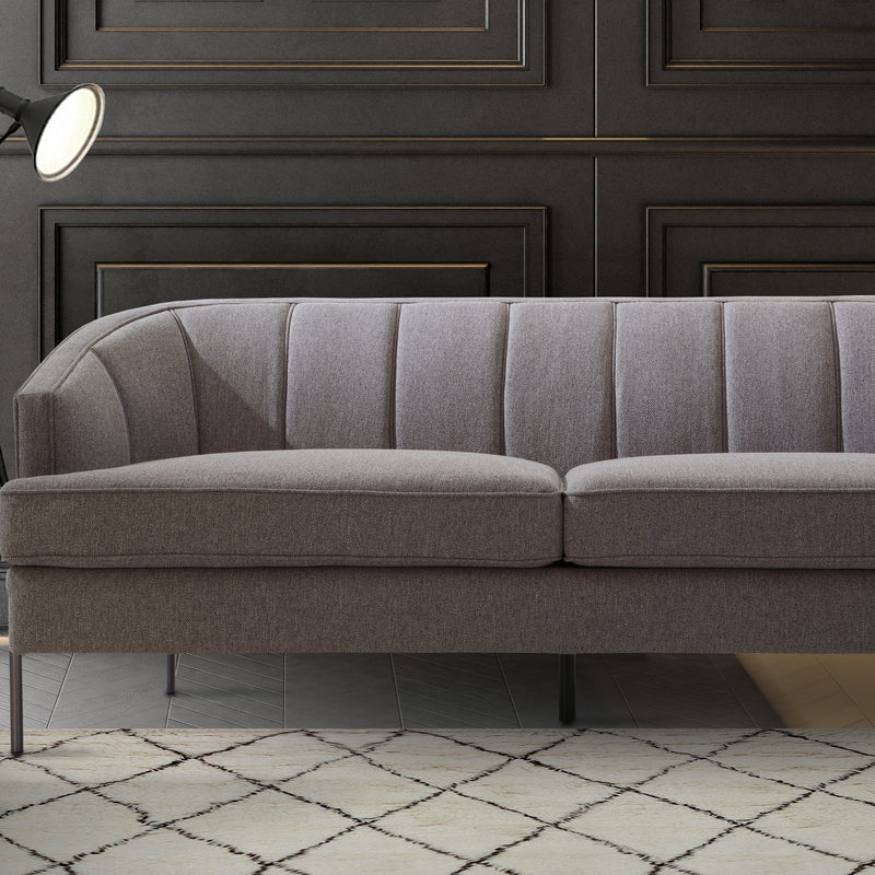 Iconic Home Astoria Sofa Linen-Textured Upholstery Vertical Channel-Quilted Metal Legs-Grey-FSA9370-CHB