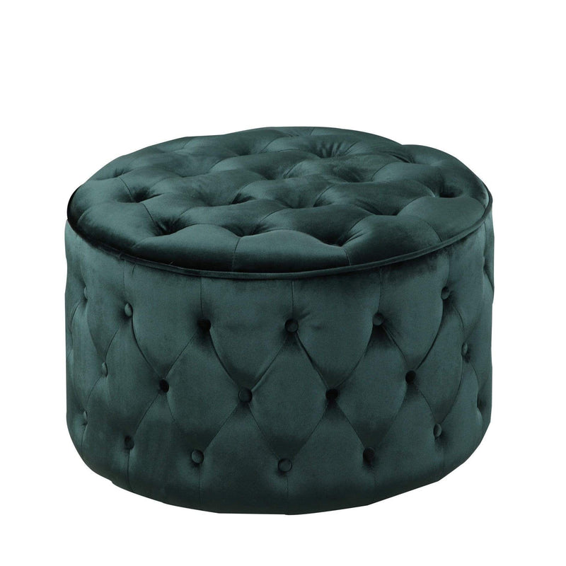 Iconic Home Batya Ottoman Button Tufted Velvet Upholstered Round Pouf-