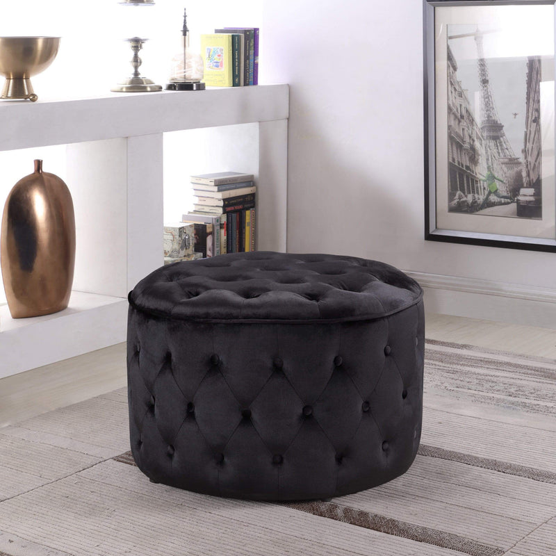 Iconic Home Batya Ottoman Button Tufted Velvet Upholstered Round Pouf-Black-FON9074-CHB