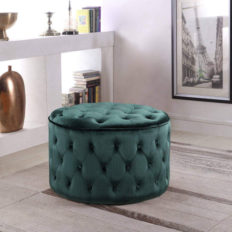 Iconic Home Batya Ottoman Button Tufted Velvet Upholstered Round Pouf-Green-FON9073-CHB