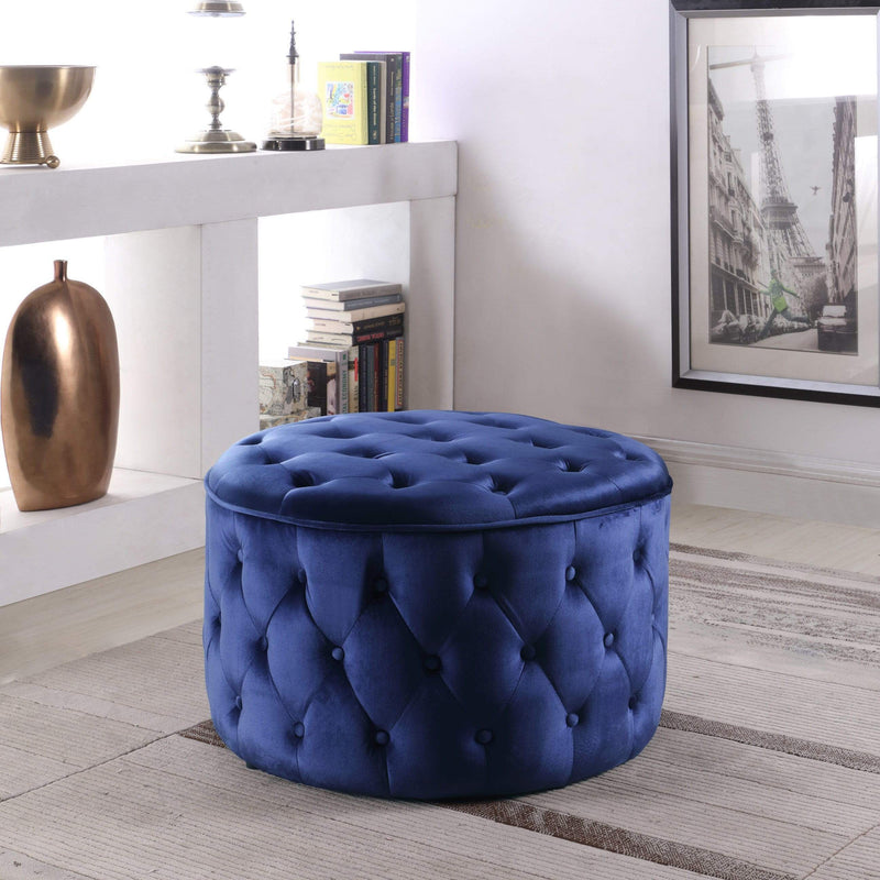 Iconic Home Batya Ottoman Button Tufted Velvet Upholstered Round Pouf-Navy-FON9071-CHB