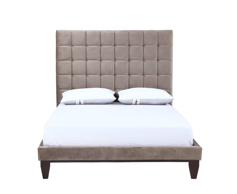 Iconic Home Beethoven Bed Frame with Headboard Tufted Velvet Upholstered Tapered Birch Legs-