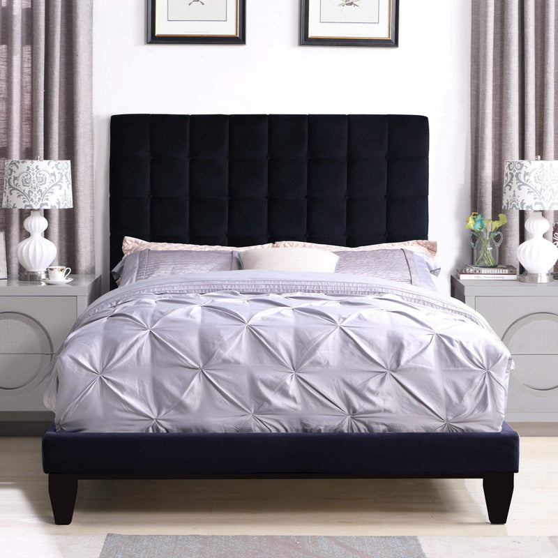 Iconic Home Beethoven Bed Frame with Headboard Tufted Velvet Upholstered Tapered Birch Legs-Black-FBD9148-CHB