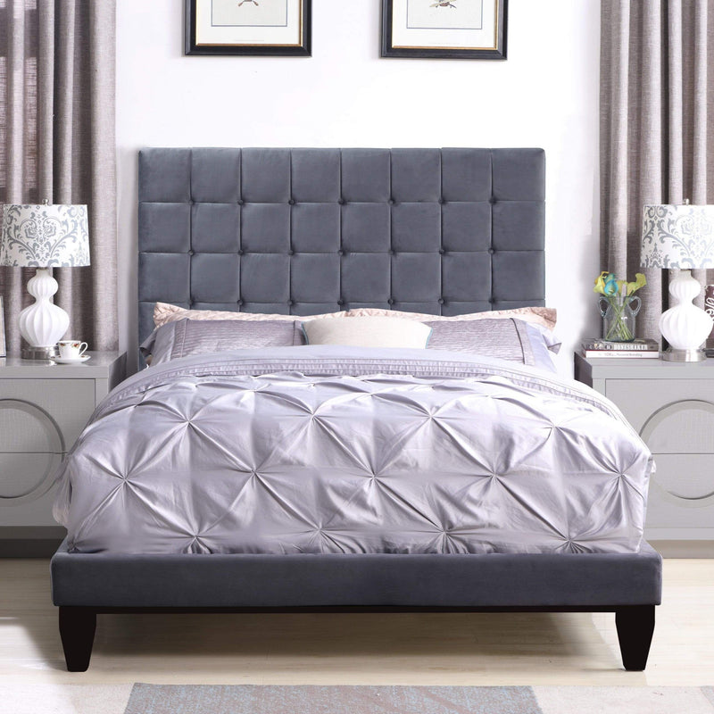 Iconic Home Beethoven Bed Frame with Headboard Tufted Velvet Upholstered Tapered Birch Legs-Grey-FBD9150-CHB