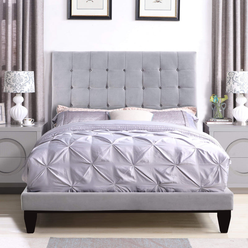 Iconic Home Beethoven Bed Frame with Headboard Tufted Velvet Upholstered Tapered Birch Legs-Light Grey-FBD9162-CHB