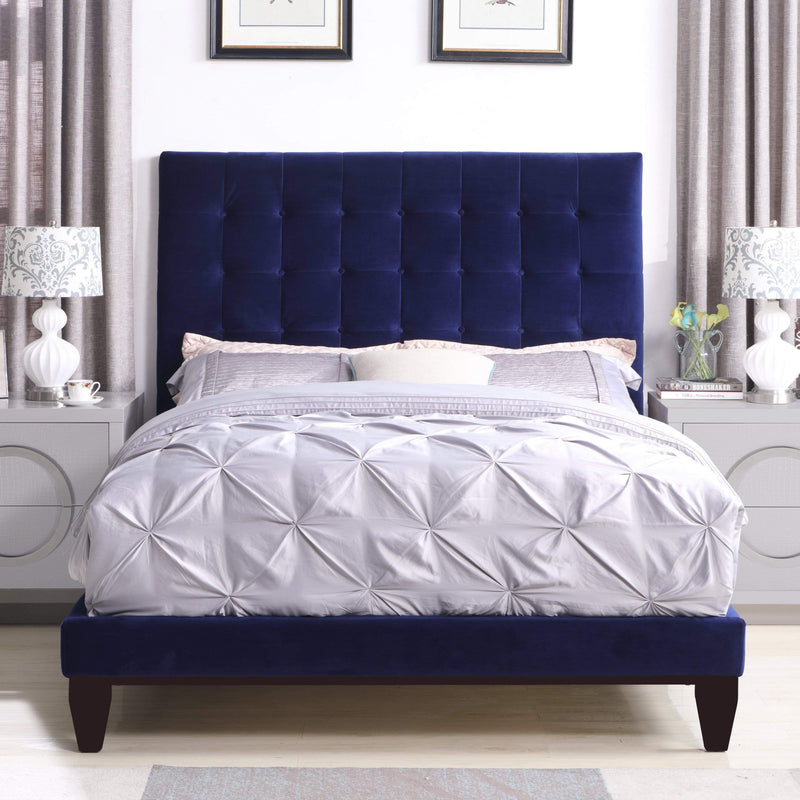 Iconic Home Beethoven Bed Frame with Headboard Tufted Velvet Upholstered Tapered Birch Legs-Navy-FBD9146-CHB