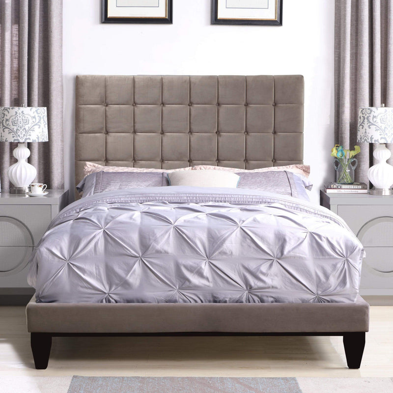 Iconic Home Beethoven Bed Frame with Headboard Tufted Velvet Upholstered Tapered Birch Legs-Taupe-FBD9152-CHB