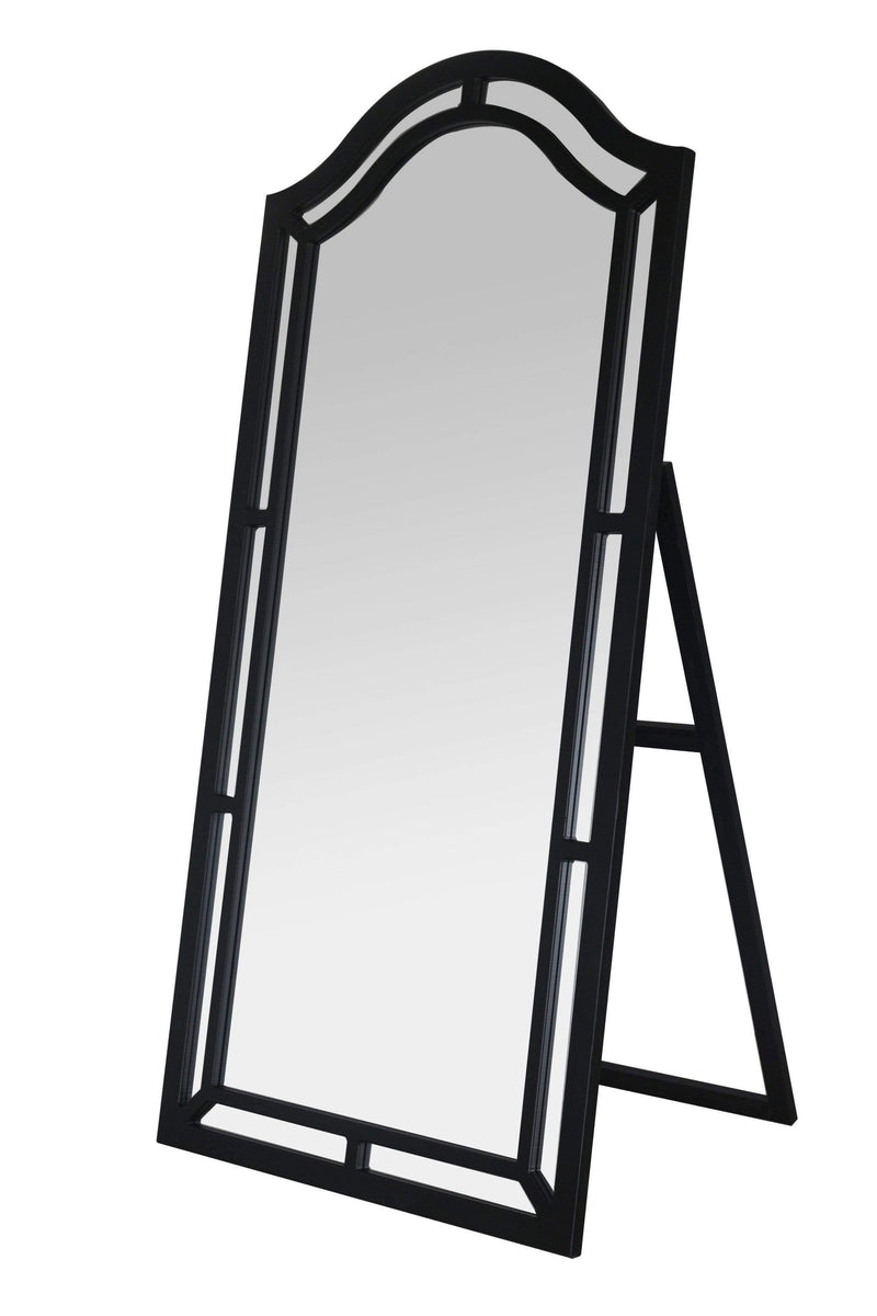Iconic Home Berlin Floor Mirror Free Standing Satin Finish Traditional-Black-FCM2623-CHB