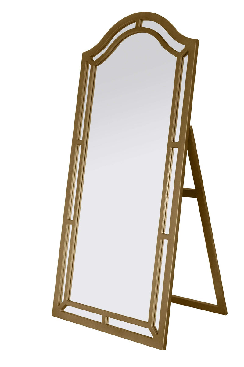 Iconic Home Berlin Floor Mirror Free Standing Satin Finish Traditional-Gold-FCM2625-CHB