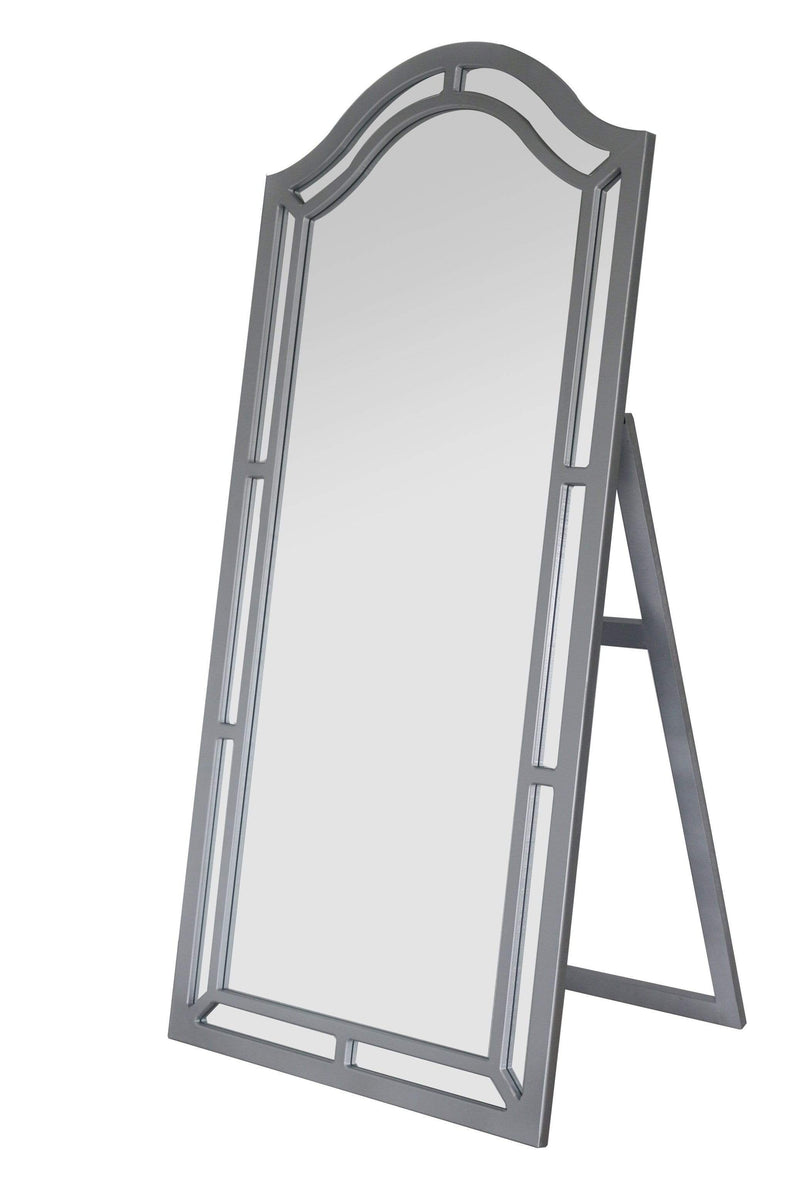 Iconic Home Berlin Floor Mirror Free Standing Satin Finish Traditional-Silver-FCM2622-CHB