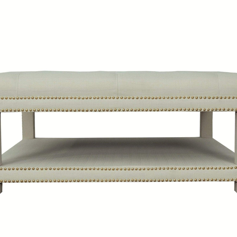 Iconic Home Bina Coffee Table Ottoman Tufted Linen Upholstered Nailhead Trim 2 Layer Bench-