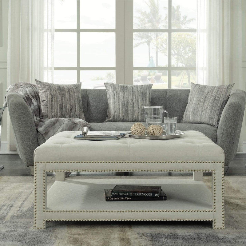 Iconic Home Bina Coffee Table Ottoman Tufted Linen Upholstered Nailhead Trim 2 Layer Bench-Beige-FCT2783-CHB
