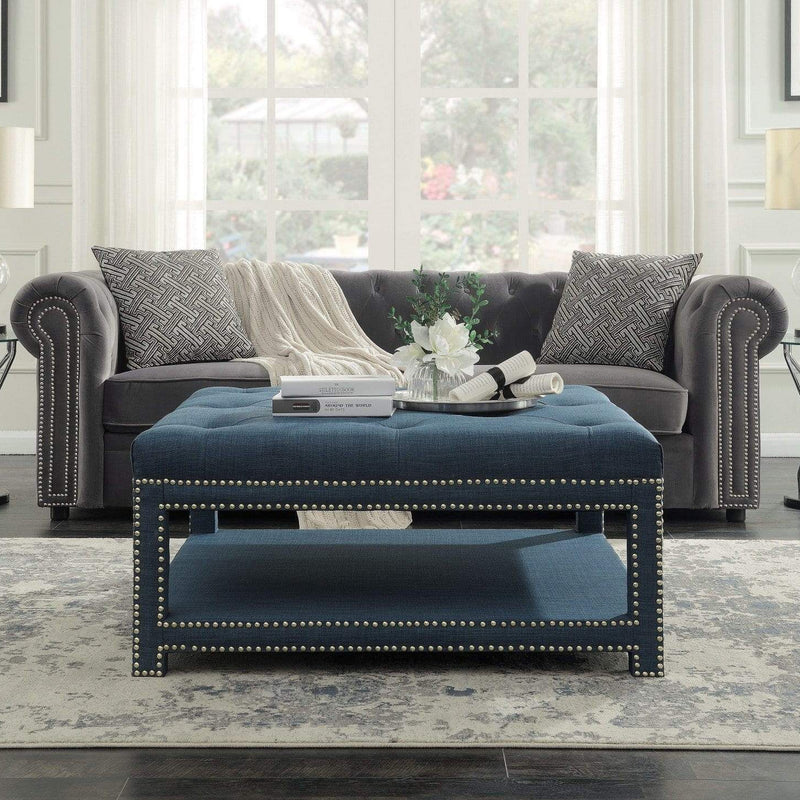 Iconic Home Bina Coffee Table Ottoman Tufted Linen Upholstered Nailhead Trim 2 Layer Bench-Blue-FCT2786-CHB