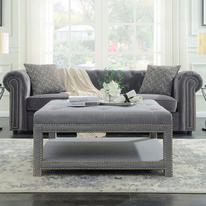 Iconic Home Bina Coffee Table Ottoman Tufted Linen Upholstered Nailhead Trim 2 Layer Bench-Grey-FCT2784-CHB