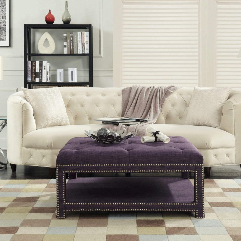 Iconic Home Bina Coffee Table Ottoman Tufted Linen Upholstered Nailhead Trim 2 Layer Bench-Purple-FCT2785-CHB