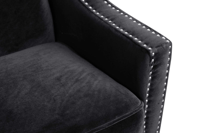 Iconic Home Camren Accent Chair Velvet Upholstered Nailhead Trim Tapered Espresso Wood Legs-