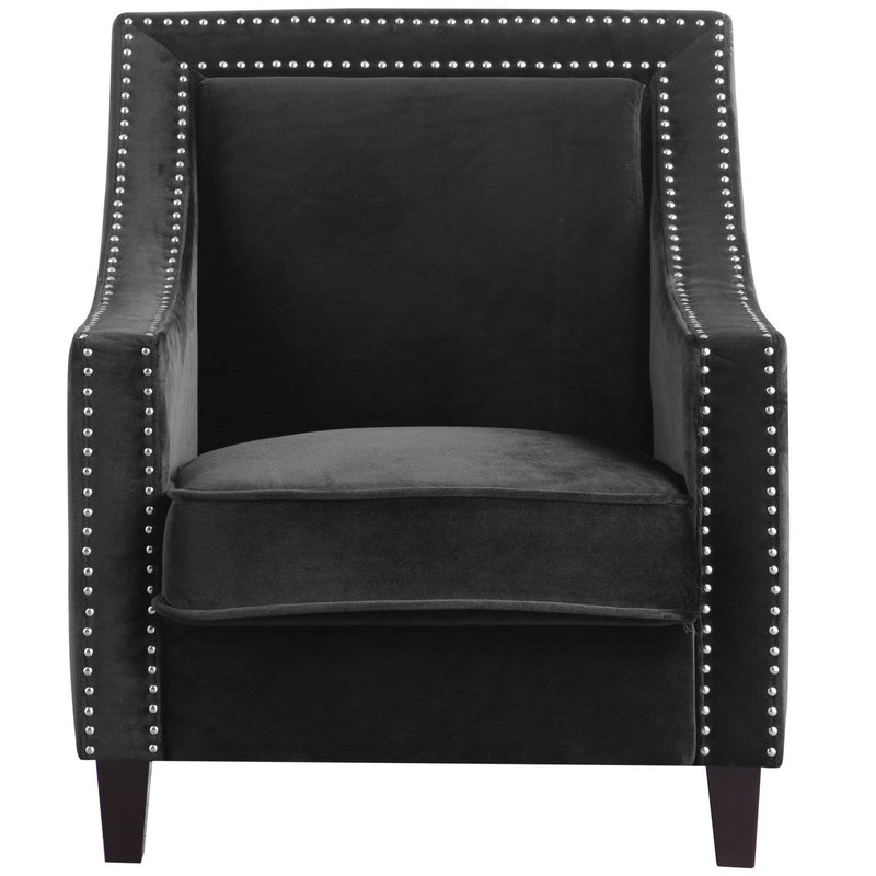 Iconic Home Camren Accent Chair Velvet Upholstered Nailhead Trim Tapered Espresso Wood Legs-Black-FAC2993-CHB