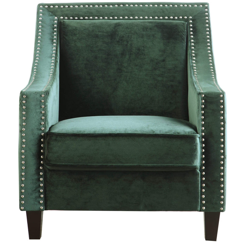 Iconic Home Camren Accent Chair Velvet Upholstered Nailhead Trim Tapered Espresso Wood Legs-Green-FAC2994-CHB