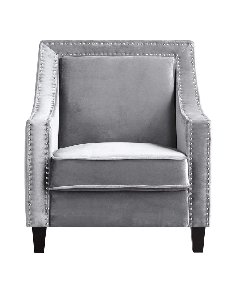 Iconic Home Camren Accent Chair Velvet Upholstered Nailhead Trim Tapered Espresso Wood Legs-Grey-FAC2992-CHB