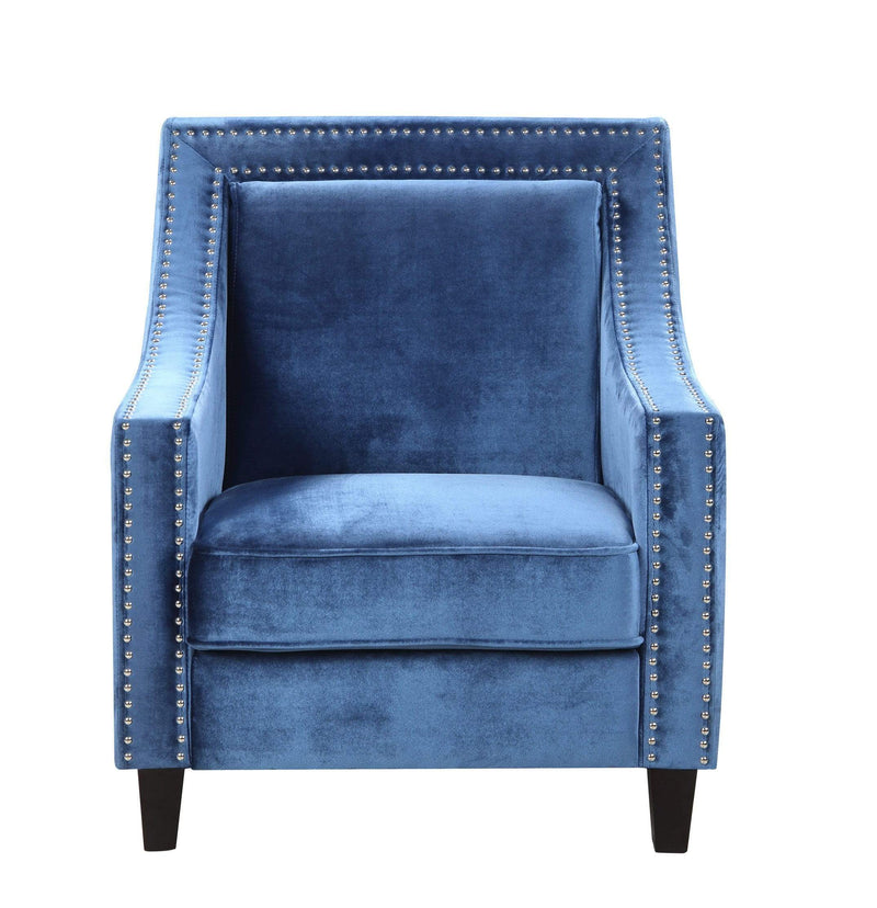Iconic Home Camren Accent Chair Velvet Upholstered Nailhead Trim Tapered Espresso Wood Legs-Navy-FAC2995-CHB