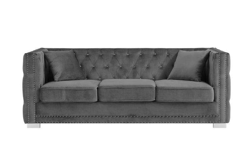 Iconic Home Christophe Sofa Velvet Button Tufted Nailhead Trim Shelter Arms Silver Metal Block Legs-