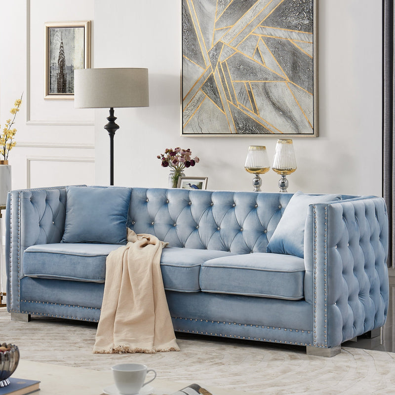 Iconic Home Christophe Sofa Velvet Button Tufted Nailhead Trim Shelter Arms Silver Metal Block Legs-Blue-FSA9595-CHB