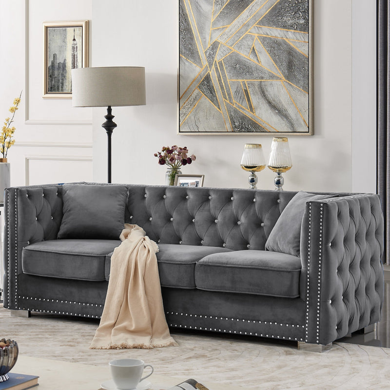 Iconic Home Christophe Sofa Velvet Button Tufted Nailhead Trim Shelter Arms Silver Metal Block Legs-Grey-FSA9544-CHB