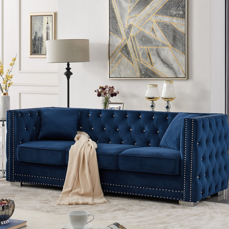 Iconic Home Christophe Sofa Velvet Button Tufted Nailhead Trim Shelter Arms Silver Metal Block Legs-Navy-FSA9545-CHB