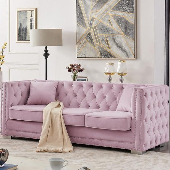 Iconic Home Christophe Sofa Velvet Button Tufted Nailhead Trim Shelter Arms Silver Metal Block Legs-Pink-FSA9543-CHB