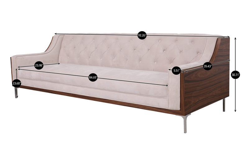 Iconic Home Clark Sofa Button Tufted Velvet Walnut Finish Swoop Arm Wood Frame Metal Y Legs-