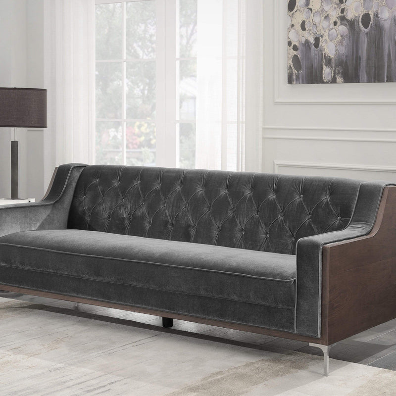 Iconic Home Clark Sofa Button Tufted Velvet Walnut Finish Swoop Arm Wood Frame Metal Y Legs-Grey-FSA2860-CHB