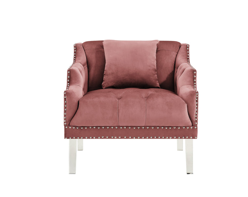 Iconic Home Elsa Club Chair Velvet Upholstered Button Tufted Nailhead Trim Slope Arm Acrylic Legs-