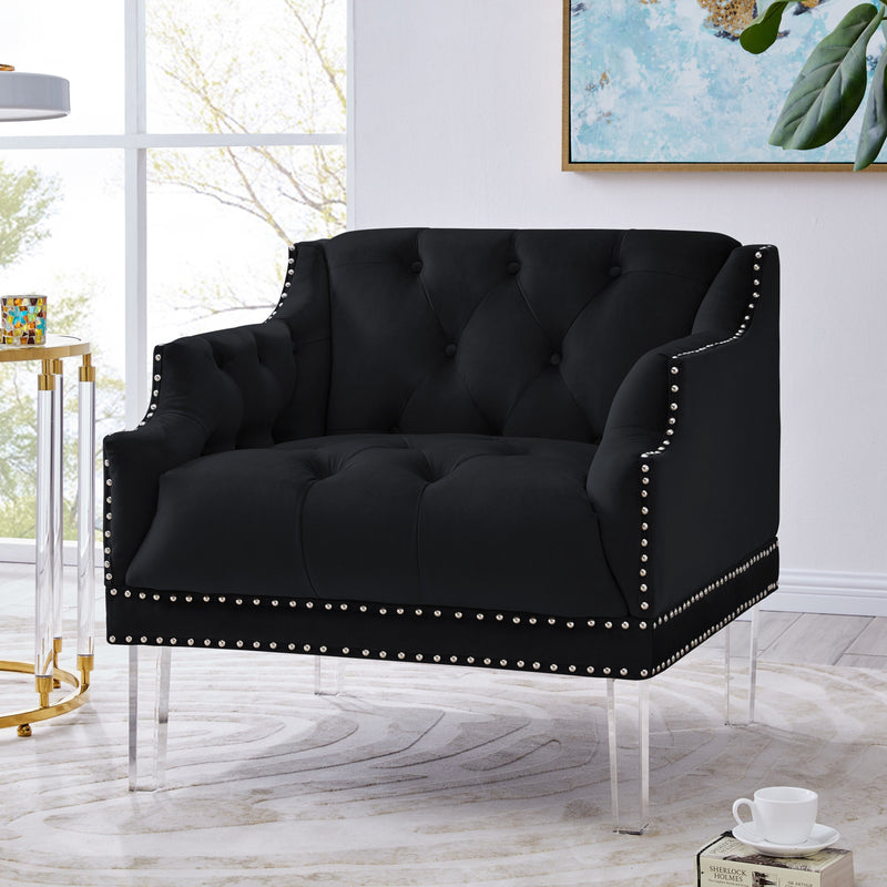Iconic Home Elsa Club Chair Velvet Upholstered Button Tufted Nailhead Trim Slope Arm Acrylic Legs-Black-FCC9563-CHB