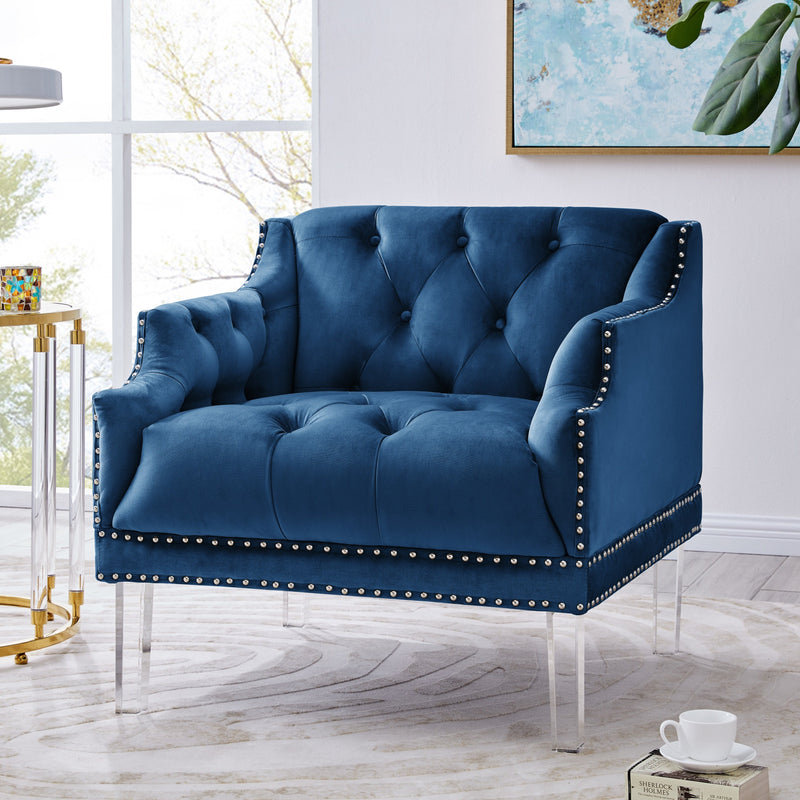 Iconic Home Elsa Club Chair Velvet Upholstered Button Tufted Nailhead Trim Slope Arm Acrylic Legs-Blue-FCC9560-CHB