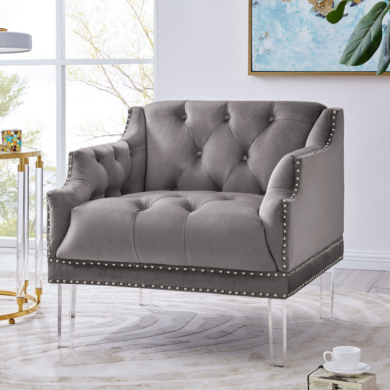 Iconic Home Elsa Club Chair Velvet Upholstered Button Tufted Nailhead Trim Slope Arm Acrylic Legs-Grey-FCC9561-CHB