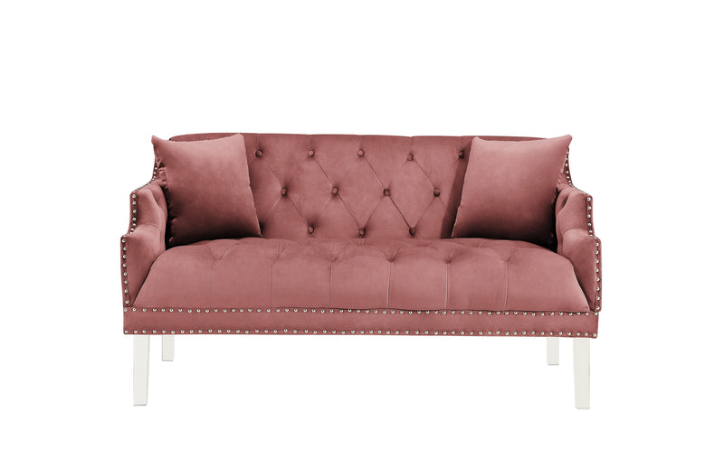 Iconic Home Elsa Love Seat Velvet Upholstered Button Tufted Nailhead Trim Slope Arm Acrylic Legs-
