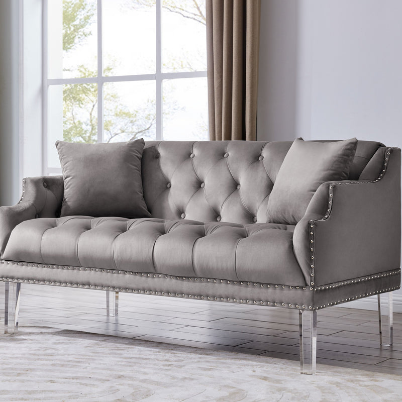 Iconic Home Elsa Love Seat Velvet Upholstered Button Tufted Nailhead Trim Slope Arm Acrylic Legs-Grey-FLS9557-CHB