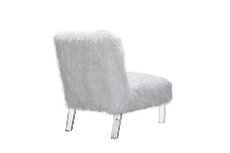 Iconic Home Fabio Accent Side Chair Sleek Stylish Faux Fur Upholstered Armless Design Acrylic Legs-