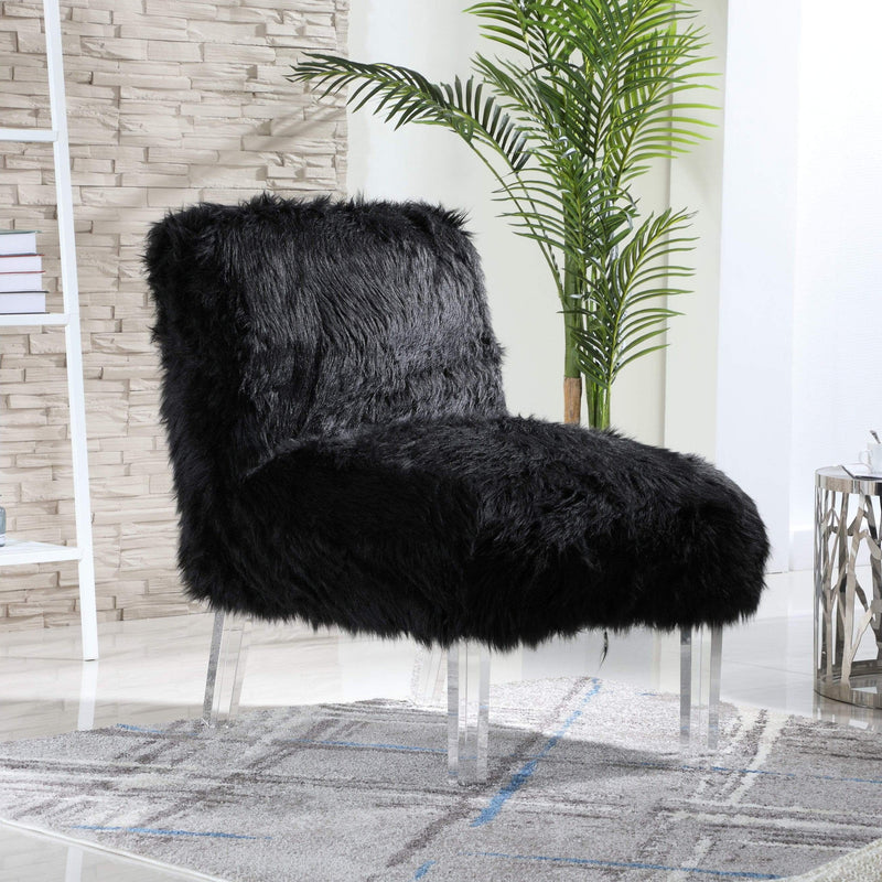 Iconic Home Fabio Accent Side Chair Sleek Stylish Faux Fur Upholstered Armless Design Acrylic Legs-Black-FAC9498-CHB